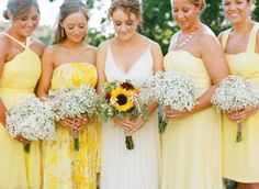 Mismatched yellow bridesmaids dresses, wildflower bouquets, a perfectly beach-y first look, and cranberry crates! from Stacey Hedman Yellow Bridesmaids, Mismatched Bridesmaid Dresses, Bridesmaid Flowers, Wedding Bridesmaids, Bridesmaid Ideas, Wedding Bouquet, Yellow Wedding, Dream Wedding, Wedding Attire