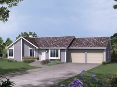 The Medford Traditional Ranch Home has 3 bedrooms and 2 full baths. See amenities for Plan 008D-0029.