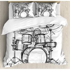 Ambesonne Rock Music Duvet Cover Set, Doodle Drawing Sketch Style Drummer Musical Inspirations Monochrome Arrangement, Decorative 3 Piece Bedding Set with 2 Pillow Shams, Queen Size, White Black Twin Comforter, Comforter Cover, Bed Duvet Covers, Duvet Cover Sets, Pillow Shams, Bedding Sets, Pillow Cases, Music Inspired Bedroom, Monochrome