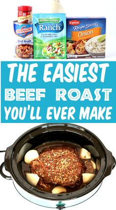 Crockpot Roast Recipes - Easy Slow Cooker Beef Roast! This delicious, savory homecooked roast will have you dreaming of dinner all day long! And it gets bonus points for being one of the EASIEST things you'll make all week! Go grab the recipe and give it a try! Easy Crockpot Roast, Roast Recipe Easy, Roast Beef Recipes, Crockpot Dishes, Crock Pot Cooking, Summer Roast Recipes, Recipes Dinner, Roast Beef Slow Cooker, Slow Cooker Summer Recipes