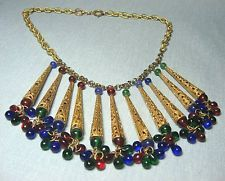 Czech Glass & GP Metal Pendant Necklace  WOW!