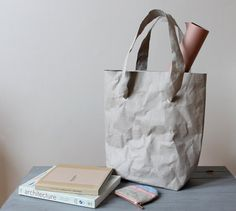 Tote bag Grey washable paper bag paper look bag by WarmGreyCompany