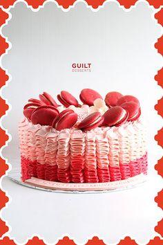 Ombre Ruffle Macarons Cake