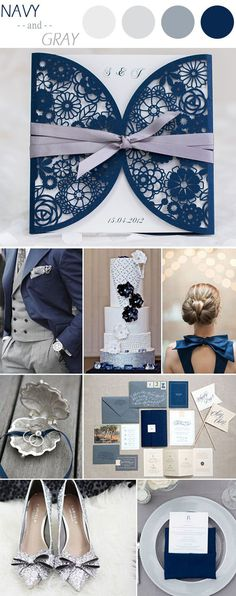 elegant navy blue laser cut wedding invitations with ribbon EWWS034