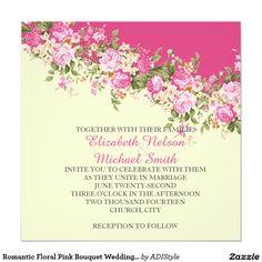 Romantic Floral Pink Bouquet Wedding Invite