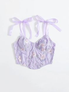 Floral Embroidery Tie Shoulder CamiCheck out this Floral Embroidery Tie Shoulder Cami on Romwe and explore more to meet your fashion needs! Winter Fashion Outfits, Cute Fashion, Look Fashion, Womens Fashion, Purple Outfits, Colourful Outfits, Crop Top Outfits, Cute Casual Outfits, Corsets