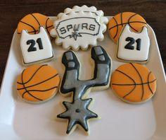 Spurs basketball cookies