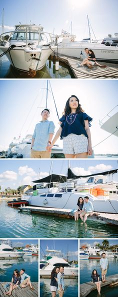Engagement photo shoot in a marina in Bali