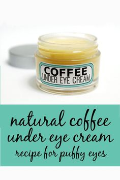 Homemade coffee under eye cream recipe for puffy eyes and anti-aging skin care . This homemade natural coffee under eye cream recipe is made using homemade coffee infused oil to help with those dark under eye circles, puffiness and even fine lines. Homemade Skin Care, Homemade Beauty Products, Diy Skin Care, Homemade Eye Cream, Homemade Facials, Homemade Face Moisturizer, Natural Eye Cream, Natural Skin Care, Organic Eye Cream