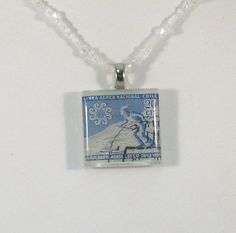 Vintage Chile Canceled Postage Stamp Pendant Necklace  by 12be, $14.50