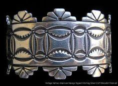 Vintage Native American Indian Navajo Signed HS Sterling Cuff Bracelet