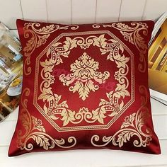 2X French Burgundy Gold Damask Cushion Cover Throw Pillow Case Home Decorative