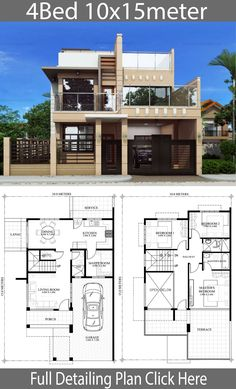 Two Story House Design, 2 Storey House Design, Simple House Design, Bungalow House Design, House Front Design, Modern House Design, Sims House Plans, House Layout Plans, Duplex House Plans