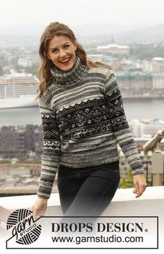 "Celtic - Knitted DROPS jumper with pattern in 1 thread in ""Big Fabel"" or 2 threads Fabel. Size: S - XXXL. - Free pattern by DROPS Design"