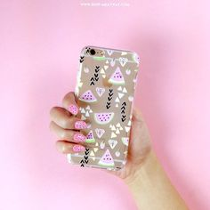 pink watermelon nails with watermelon phone case #milkywaycases #iphone #phonecase