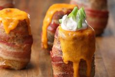 Potatoes erupting with cheese and wrapped in BACON! These Savory Potato Volcanoes are easy to make and the perfect mouth-watering dish. Baked Potato Volcano, Volcano Potatoes, Bbq Potatoes, Cheesy Potatoes, Stuffed Potatoes, Russet Potatoes, Grilling Recipes, Cooking Recipes, Yummy Recipes