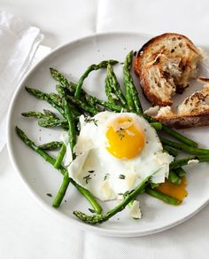 Fried (or poached) egg over blanched asparagus with a slice of toast - one of my favorite breakfasts