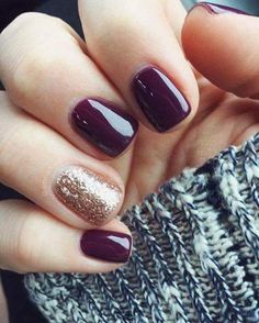 Just did my nails like this! Are you looking for fall acrylic nails colors art designs that are excellent for this fall? See our collection full of fall acrylic nails colors art designs ideas and get inspired! Nails Polish, Nail Polish Colors, Fall Nail Polish, Manicure Colors, Hair And Nails, My Nails, Plum Nails, Gold Nails, Maroon Nails Burgundy