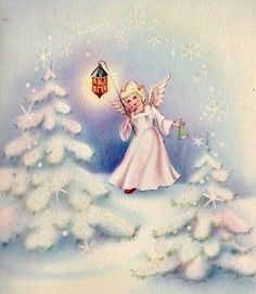 #retrochristmas Vintage Christmas Card. Christmas Angel. Lamplighter.