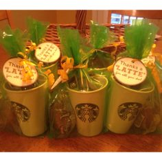 Breakfast Pack: A Starbucks Coffee Cup w/ a Starbucks Instant Coffee Packet, Sugar, Sweet N Low & Equal Packets, A Stirrer, 3 Coffee Mate Creamers & A Muffin All in a Bag with a tag that reads: Thanks a LATTE!
