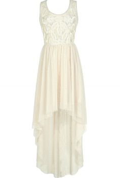 Ivory Jungle Princess Embellished Mesh High Low Dress  www.lilyboutique.com