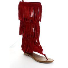 Women's Four-layers Fringe Flat Thongs Knee High Gladiator Sandals