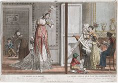 """On the left : """"The fashionable mother"""", on the right """"The mother such as all should be."""" Postcard, 1800"""