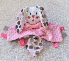 3a0d8de8b53 Personalized minky lovey with bunny toy