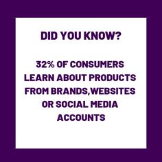 Did You Know? of consumers learn about products from brands,websites or social media accounts! Did You Know, Accounting, Facts, Social Media, Marketing, Website, Learning, Business, Products