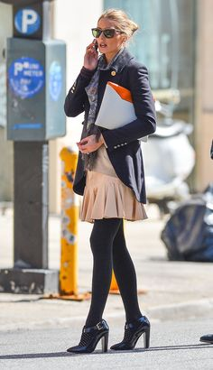 Pin for Later: 54 Times Olivia Palermo Made Us Hate Our Outfits Olivia braved the cold in a slim military coat and flared peach skirt, plus she topped the look off with a signature paisley scarf. Olivia Palermo Street Style, Estilo Olivia Palermo, Olivia Palermo Lookbook, Fashion Mode, Look Fashion, Womens Fashion, Fashion Photo, Fashion Trends, Looks Chic