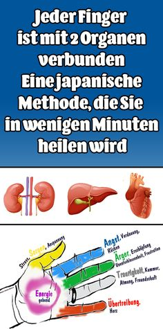 Each finger is connected to two organs: a Japanese me .- Jeder Finger ist mit 2 Organen verbunden: Eine japanische Methode Each finger is connected to two organs: a Japanese method that will cure you in minutes - Health And Beauty, Health And Wellness, Health Fitness, Home Exercise Program, Workout Programs, Natural Health Remedies, Home Remedies, Affirmations, Daily Health Tips