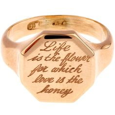 Annina Vogel Gold Engraved Hexagonal Signet Ring ($795) ❤ liked on Polyvore featuring jewelry, rings, flower ring, antique gold ring, engraved rings, yellow gold flower ring and antique rings