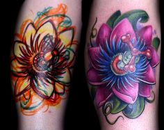 Loving this purple passion Flower Tattoo. Its a beautiful flower that represents the crucifixion of Christ.