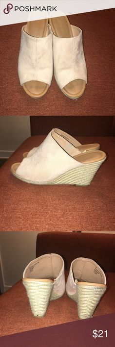 Faux suede mules with rope wedges Summer time fun open toed faux suede wedge mules Lane Bryant Shoes Mules & Clogs