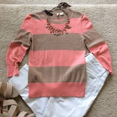 "{Anthropologie} Moth striped sweater Super cute {Anthropologie} striped sweater by Moth. Khaki and salmon colors. 3/4 sleeves. 35 viscose 30 nylon 20 cotton 5 rabbit hair. Laying flat approx 23"" long, approx 15.5"" pit to pit. Size Small.   #127 Anthropologie Sweaters Crew & Scoop Necks"