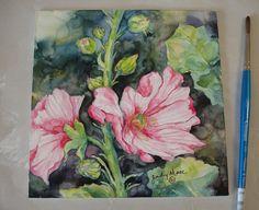 hollyhock flowers watercolor painting on by DakotaPrairieStudio
