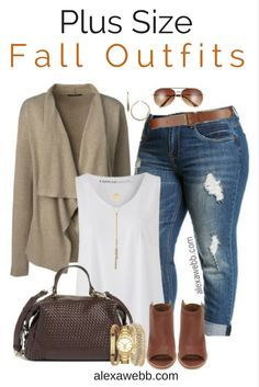 Plus Size Fall Jeans Outfit - Alexa Webb - Mode Mode Outfits, Jean Outfits, Fall Outfits, Casual Outfits, Fashion Outfits, Fashion 2017, Autumn Outfits Curvy, Fashion Brands, Style Fashion