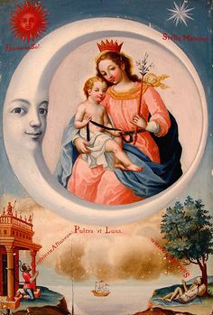 Virgen de la LunaA painting from Ecuador. This image is know as the Virgin of the Moon.
