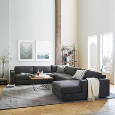Urban Set 11 Left Arm 76 5 Sofa Corner Armless 66 Right Chaise Herringbone Faux Suede Charcoal At West Elm Sectional Sofas Couches
