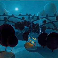 A signed limited edition canvas on board of 150 by contemporary landscape artist, Paul Corfield entitled Moonlight Shadows Art And Illustration, Illustrations, Nocturne, Modern Art, Contemporary Art, Naive Art, Art For Art Sake, Rodin, Vincent Van Gogh