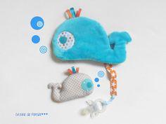 Doudou baleine bleue tout tout dOux porte tétine ... et son tout p'tit bébé Baboubaleine : Jeux, jouets par graine-de-pensee