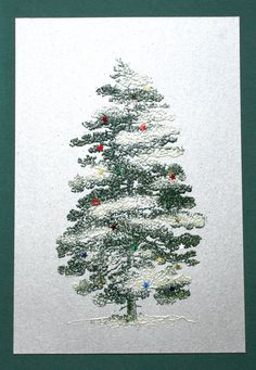 When making Christmas Cards, I like to have a simple, elegant design that is fun, but basically foolproof so I can make lots of them and not have to fuss too much. Metallic cards and envelopes make… Christmas Cards To Make, Christmas Tree, Metallic Paper, Blessings, Stamps, Ads, Fine Art, Holidays, Holiday Decor