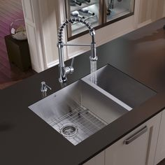 """29"""" x 20"""" Double Bowl Undermount Kitchen Sink with Faucet, Two Grids, Two Strainers and Dispenser"""