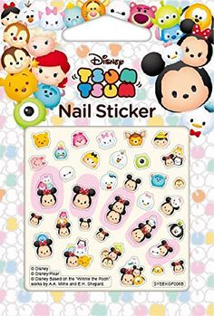 Tsum Tsum nail stickers, mickey, snow white, chip and dale, nail decal, nail art