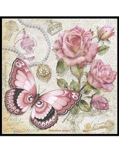 Decoupage Vintage, Vintage Diy, Vintage Cards, Vintage Paper, Vintage Images, Paper Butterflies, Butterfly Art, Vintage Butterfly, Art Papillon