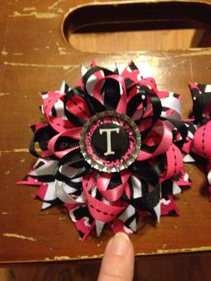 Personalized Initial Ribbon Hair Bow