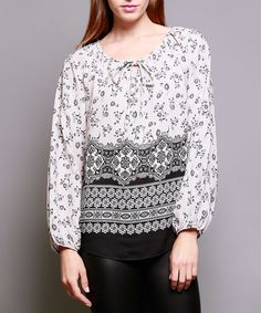 Another great find on #zulily! Ivory Floral Tapestry Peasant Top #zulilyfinds