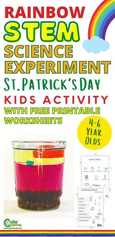 Do fun science experiment with kids. Check out the instructions for this STEM rainbow science experiment that's perfect for St. Patrick's Day. #stpatricksday #Irish #stemactivities #scienceexperiment #kidsactivities #activityforkids #seasonalactivities #preschool #preschoolers #prek #homeactivitiesforkids #boredkids #freeprintables #kidsworksheets #preschoolworksheets #Montessori #finemotorskills #scienceforchildren #kidsscience #experiments Science Experiments Videos, Science Experiments For Preschoolers, Science Projects For Kids, Science Fun, Preschool Science, Fun Activities For Kids, Fun Crafts For Kids, Science For Kids, Science Activities