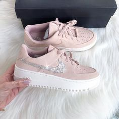 on sale eecb5 81676 Nike Air Force 1 Sage Low Made with SWAROVSKI® Crystals Selected Style Nike  Air Force 1 Sage Low COLORParticle BeigePink FIT True to size US Womens  ...