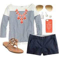 A fashion look from August 2013 featuring J.Crew tops, J.Crew shorts and Tory Burch flip flops. Browse and shop related looks.